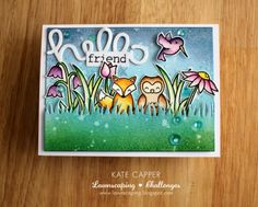 Just Kate crafting: Lawnscaping #129, calling all critters Using Lawn Fawn stamps inktense pencils, distress inks sequins stickles