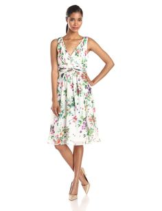 Donna Morgan Women's Jessie Short Bra Friendly Chiffon Printed Dress, Garden Floral, 16. Sleeveless chiffon dress in allover floral featuring surplice bodice and shirred waistband. V-neckline and back. Concealed back zipper. Fully lined.