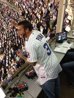 For it's ONE, TWO, THREE STRIKES 'yer out at the OLD BALL GAAAAAMMMMEE!!! CM Punk sings for the #Cubs at Wrigley Field!