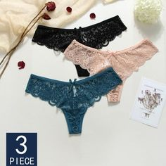 85c5b453aa1d 3 Pieces Panties Woman Lace Sexy G-String Briefs Lingerie Low Waist Crotch  Cotton Woman Thong T-Back Female Underwear For Woman