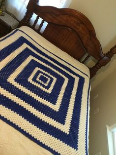 Crochet Afghan Blue and White Geometric Home by ClassicStyles7
