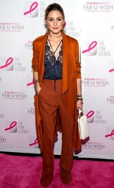 Olivia Palermo is ready for fall in orange and navy at The Pink Agenda gala.
