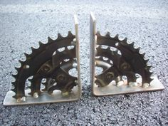 Bicycle Sprocket Shelf Brackets by Scrapyard Art These would be awesome bookends!