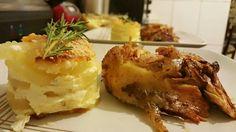 Pollo a las finas huerbas y pure de papa