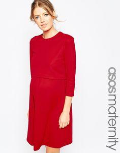 ASOS Maternity NURSING Textured Skater Dress With 3/4 Sleeve