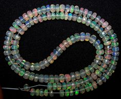 "Insane Rainbow Multi Fire Ethiopian Welo Opal Micro Faceted Beads String Clear/Transparent 47.80 Cts 4.5 mm to 5.2 mm 16 "" For Necklace"