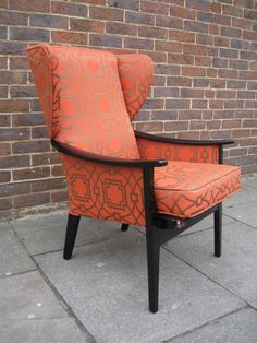 Re-upholstered wing chair