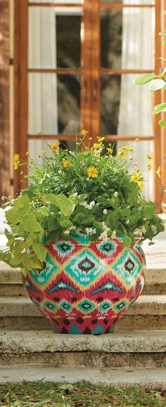 With a pattern borrowed from timeless kilim rugs, the Kilim Planter brings graphic, colorful design to the garden.