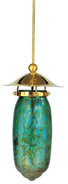 Johann Lötz Witwe, Klostermühle, Iridescent Glass Lamp, Designed by Kolo Moser, 1903/04.