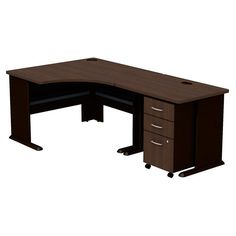 Bush Series A Corner Desk with Mobile Filing Cabinet - SRC005