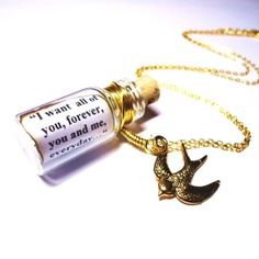 would be the best. romantic. gift. EVER. guys, somebody show this to my boyfriend in the future! Precious Quote in a Bottle necklace. Your Pick. Gold FREE SHIPPING on Etsy, $23.50