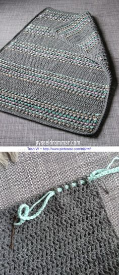 A very simple baby blanket worked in all DC, with a super-easy way to add color by weaving chains through the stitches. Free tutorial from Pysseldrommar - use Google translate, but photos are self-explanatory . . . * ༺✿ƬⱤღ http://www.pinterest.com/teretegui/✿༻