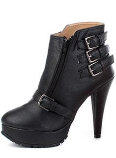Black Real Leather Chunky Heel Ankle Boots With Rivet S00812,  Shoes, Black Real Leather Chunky Heel Ankle, Chic