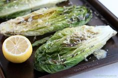 Grilled Romaine Hearts with Caesar Vinegarette. Skip the cheese for a vegan version!