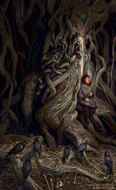 Three Eyed Crow - ASOIAF/Game of Thrones, Aldo Katayanagi on ArtStation at https://www.artstation.com/artwork/q0rge