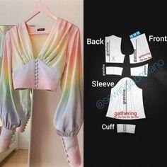 Dress Sewing Patterns, Clothing Patterns, Sewing Ruffles, Costura Fashion, Short Shirts, Fashion Basics, How To Make Clothes, Fashion Sewing, Diy Fashion Dresses