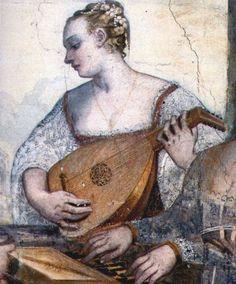 """Fresco: 1560s, Detail from """"The Concerto"""" - Giovanni Antonio Fasolo Madonna Gesicht Profil"""