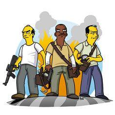 GTA V / Simpsonized: Trevor, Franklin, Michael Gta Logic, Grand Theft Auto Series, Simpsons Characters, Dope Cartoons, Lets Play A Game, Gta 5 Online, Gamer Humor, Rockstar Games, Cartoon Crossovers