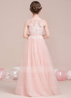 A-Line/Princess Scoop Neck Floor-Length Beading Sequins Zipper Up Regular Straps Sleeveless No Pearl Pink General Tulle Junior Bridesmaid Dress