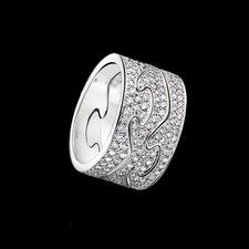Georg Jensen has created a new Fusion ring in white gold with pave-set diamonds.
