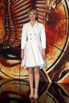 Jennifer Lawrence in winter white.