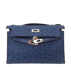 Hermes Kelly Mini Pochette Ostrich Blue Sapphire Used Open