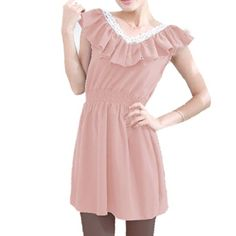 $10 Allegra K Ladies Sleeveless Lace Trim Double V Neck Mini Dress Pink XSFrom Allegra K $10