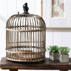 RATTAN BIRDCAGE  - NATURAL Morgan & Finch