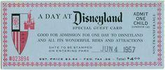 A Day at Disneyland. Ein Tag in Disneyland. Disneyland, the Happiest Place on Earth! Disneyland Tickets, Vintage Disneyland, Disneyland Resort, Admission Ticket, Disneyland History, Disneyland Photos, Disney Love, Disneyland, Poster