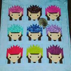 """A Lovely finished Hazel Hedgehog Quilt, as you can clearly see that little Hedgie love's it!"""