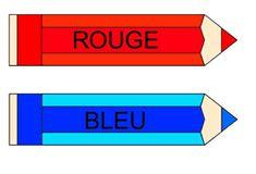 Les couleurs rouge et bleue à afficher dans la classe