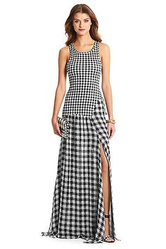 DVF Davina Jersey and Chiffon Combo Maxi Dress in in Gingham Small/ Gingham Black