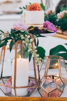 bronze or copper plated vessels to cover up the typical centerpiece for an added touch of glam.