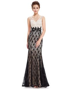 Ever Pretty Womens Floor Length Sleeveless Lace Evening Dress 6 US Cream and Black