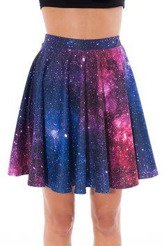 Galaxy Printed Skater Skirt High Waisted Skater Skirt by BADINKA