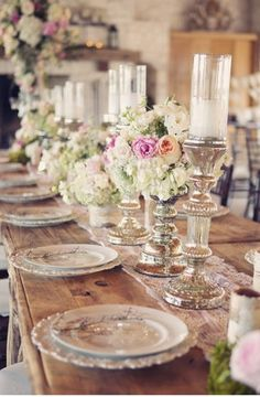 Shabby Chic inspired #wedding tabletop with mercury glass and rustic wood accents