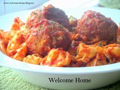 Welcome Home Blog: Baked Tortelini with Meatballs