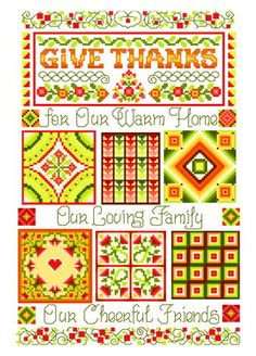Give Thanks Quilt Sampler - Thanksgiving cross stitch pattern designed by Ursula Michael. Category: Flowers.