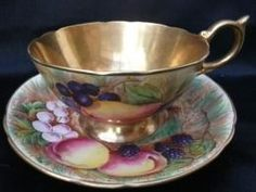 4:00 Tea...Aynsley...Orchard pattern with heavy gold...teacup & saucer