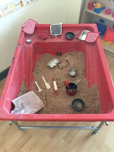 Sand kitchen. Used to explore the sand with inanimate objects, always giving child the chance to use their expressive and imaginative play.
