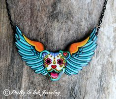 All Pitbulls Go To Heaven Necklace - Day of the Dead Pitbull Winged Sugar Skull Dog on Etsy, $26.95