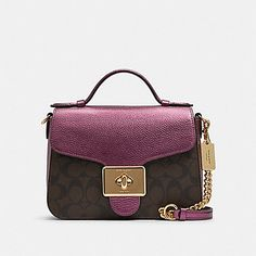 Coach Cassidy Top Handle Crossbody In Signature Canvas Im/brown Metallic Berry - Signature coated canvas and metallic refined pebble leather Coach Outlet, Coach Handbags, Clutch Wallet, Pebbled Leather, Berry, Clutches, Wallets, Metallic, Handle
