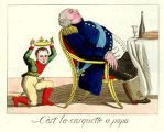 """Napoleonic caricature from March 1815: """"C'est la casquette à papa"""" (it's papa's hat). Louis XVIII is shown snoozing after dinner. His crown has fallen off and the King of Rome (Napoleon's 3-year-old son) is picking it up and trying it on."""