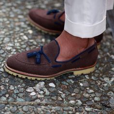 Brown Twill Loafer with Navy Leather Tassels, Men's Spring Summer Fashion.