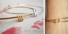 Tiny Gold or Silver Initial Bangle Bracelet | Jane