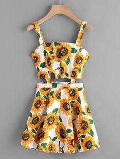 Vestido con abertura con estampado de girasol al azar con una fila de botones