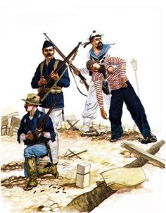 British, US, French and Russian naval marines in China during the Boxers Rebellion