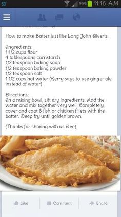 Said pinner… tried this one too and it is rea… Long John Silvers batter recipe. Said pinner… tried this one too and it is really great… Fish Dishes, Seafood Dishes, Seafood Recipes, Cooking Recipes, Main Dishes, Fish Batter Recipe, Fish Fry Batter, Great Recipes, Favorite Recipes