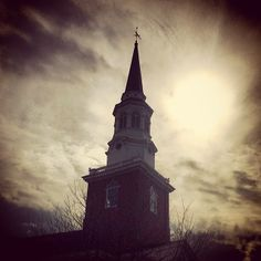 """Steeple of Binkley Chapel, surrounded by darkness of light, SEBTS, Wake Forest, NC """"The sun to rule by day: for his mercy endureth for ever"""" (Psalm 136:8)"""