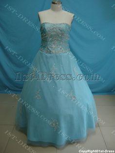 Ball Gown Princess Strapless Long / Floor-Length Taffeta Tulle Plus Size Quinceanera Dress 5410:1st-dress.com